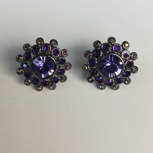 Givenchy Purple Stud Crystal Earrings